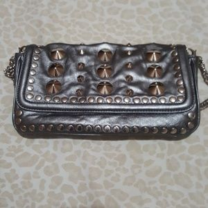 Be & D Garbo Baguette Clutch Leather Studded Bag